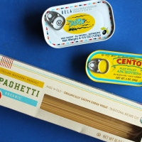 Spaghetti with Sardines, Lemon, and Anchovy Breadcrumbs